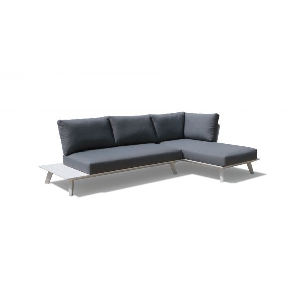 POSITANO  4 SEATER OUTDOOR CHAISE LOUNGE SETTING IN WHITE - NO COFFEE TABLE