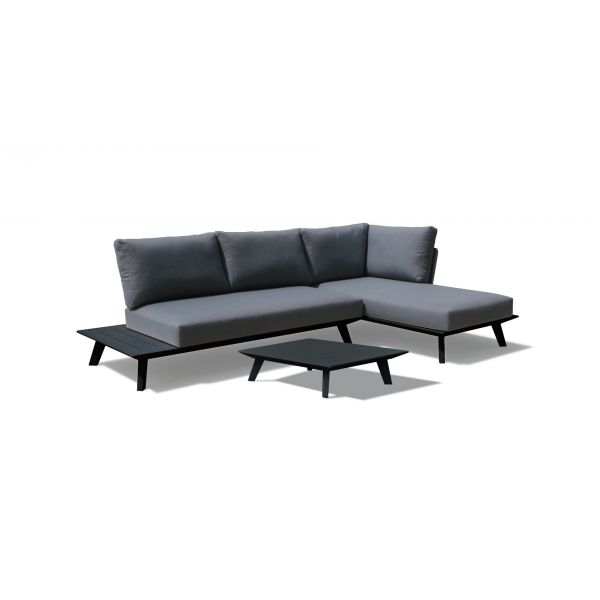 POSITANO 4 SEATER OUTDOOR  CHAISE LOUNGE SETTING IN CHARCOAL WITH SMALL COFFEE TABLE