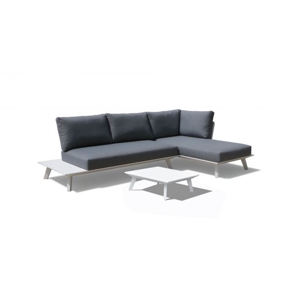 POSITANO 4 SEATER OUTDOOR CHAISE LOUNGE SETTING IN WHITE WITH SMALL COFFEE TABLE