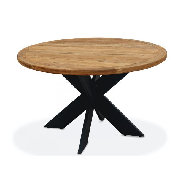FERNIE OUTDOOR RECYCLED TEAK DINING TABLE ROUND WITH ALUMINIUM LEG CHARCOAL DIA150x76CM