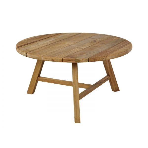 LEDUC OUTDOOR COFFEE TABLE   LARGE ROUND RECYCLED TEAK DIA.80 X42CM