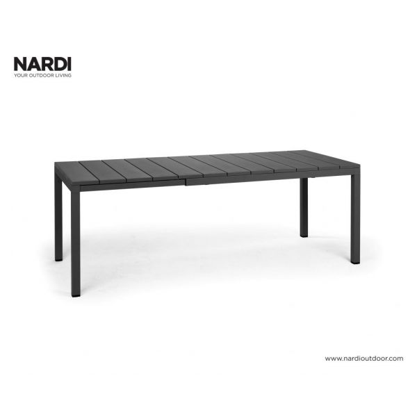 NARDI RIO OUTDOOR RESIN EXTENSION DINING TABLE ANTHRACITE -140 / 210 x 85 CM