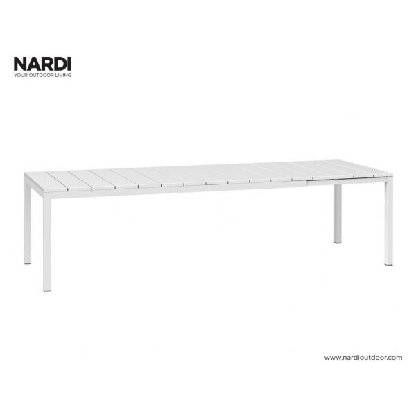NARDI RIO OUTDOOR RESIN EXTENSION DINING TABLE WHITE (BIANCO) - 210/280CM x 100