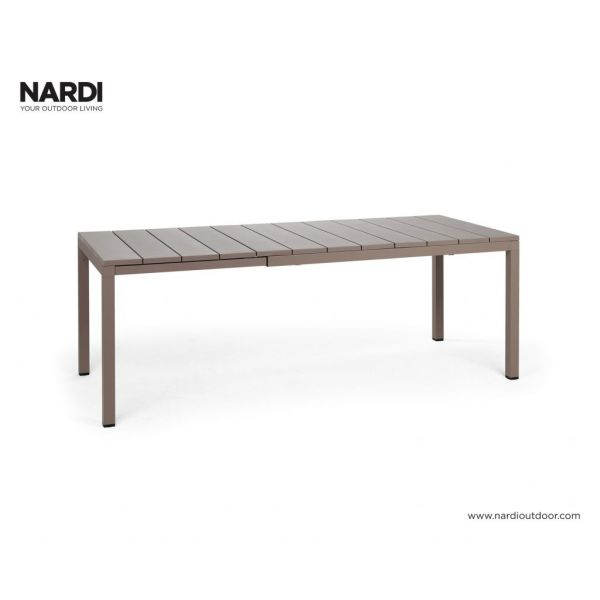 NARDI RIO OUTDOOR RESIN EXTENSION DINING TABLE LIGHT BROWN (TORTORA) -140 / 210 x 85CM