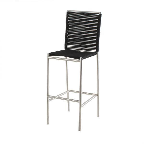 ROPE OUTDOOR STAINLESS STEEL BAR CHAIR BLACK
