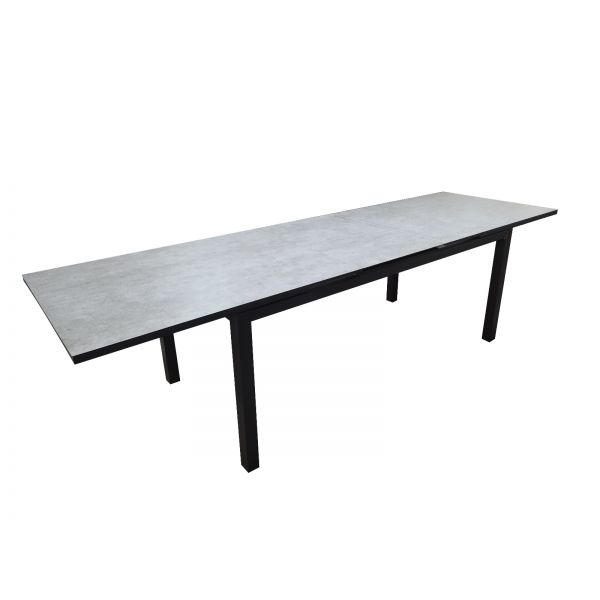 SHEFFIELD OUTDOOR ALUMINIUM EXTENSION TABLE CHARCOAL 240/300X90X75 CM