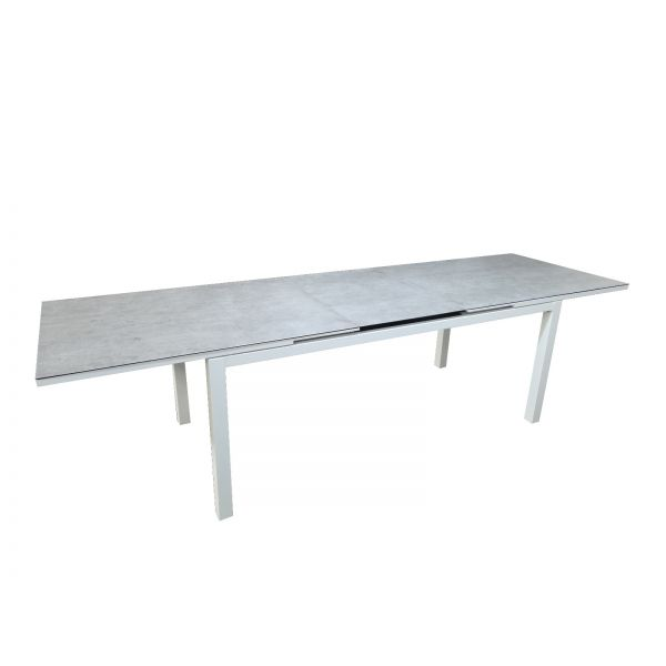 SHEFFIELD OUTDOOR ALUMINIUM EXTENSION TABLE WHITE 240/300X90X75 CM