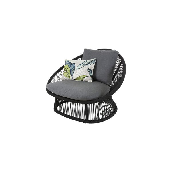SPADE OUTDOOR ROPE LEISURE CHAIR/ONE SEATER SOFA BLACK FRAME WITH CHARCOAL ROPE