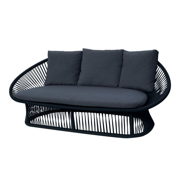 SPADE OUTDOOR ROPE TWO SEATER SOFA IN BLACK WITH CHARCOAL CUSHION