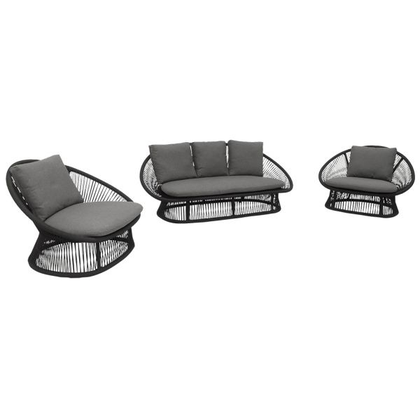 SPADE 4 SEATER OUTDOOR BALCONY LOUNGE SETTING CHARCOAL (WITHOUT COFFEE TABLE)