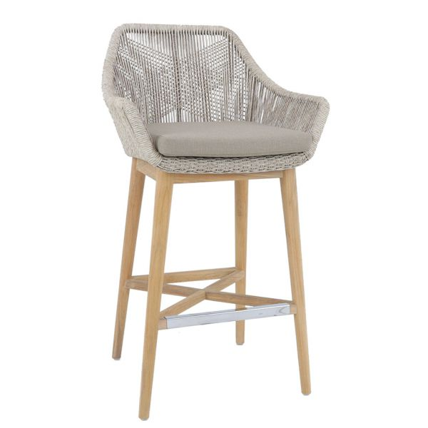 STRING OUTDOOR  WICKER BAR STOOL NATURAL  WITH TEAK LEG