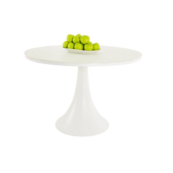 FANO OUTDOOR GLASS DINING ROUND TABLE WHITE DIA.110 CM