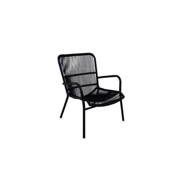 CHAIR TONGA LOUNGE ARM ALU BLACK ROPE 4MM