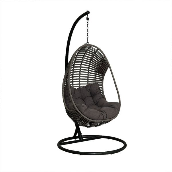 TURIN OUTDOOR WICKER HANGING EGG CHAIR CHARCOAL