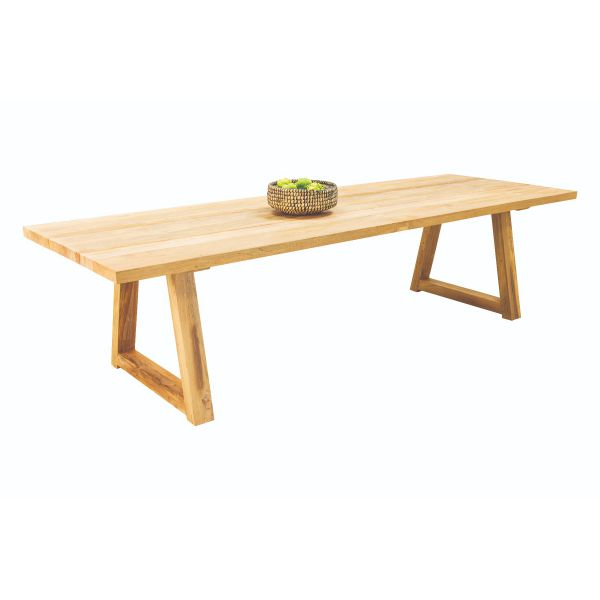 VALLEY OUTDOOR RECYCLED TEAK DINING TABLE NATURAL - 300 x 100 x 76CM