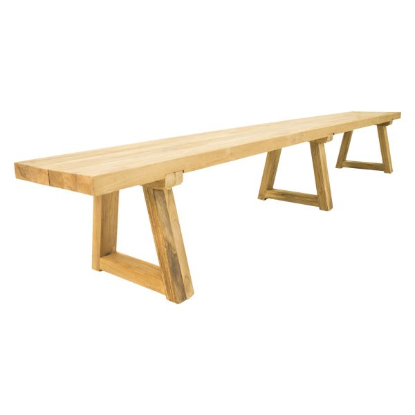 VALLEY OUTDOOR RECYCLED TEAK BENCH NATURAL - 250 x 40 x 45CM