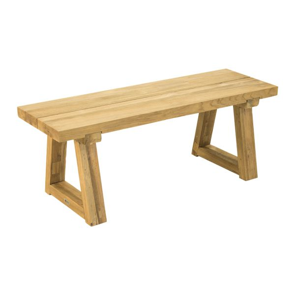 VALLEY OUTDOOR RECYCLED TEAK BENCH NATURAL - 120 x 40 x 45CM
