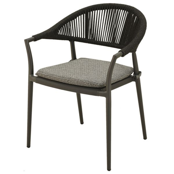 WINDSOR OUTDOOR ALUMINIUM / ROPE DINING CHAIR CHARCOAL WITH TEXTURED BLACK CUSHION