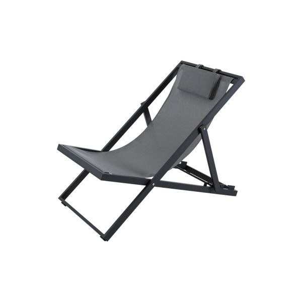 XANTHUS OUTDOOR CHAIR DECK/SUNLOUNGER CHARCOAL/SLIVER BLACK