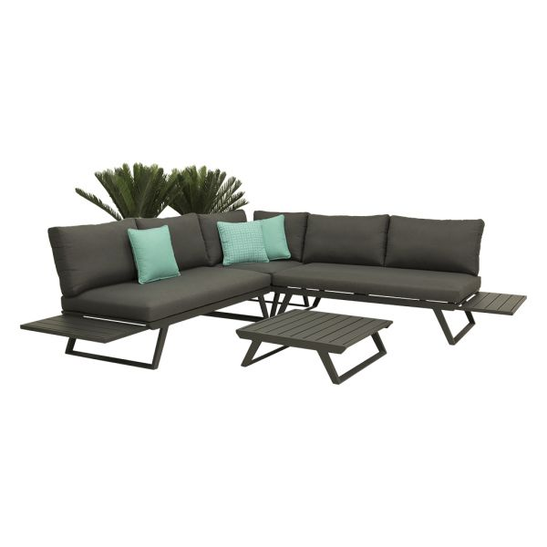 YARRA 5 SEATER OUTDOOR LOUNGE SETTING CHARCOAL