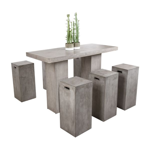 ZEN GFRC CONCRETE BAR TABLE WITH BAR STOOLS - 7PC OUTDOOR BAR SETTING