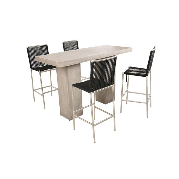 ZEN GFRC CONCRETE BAR TABLE WITH ROPE STAINLESS BAR CHAIRS BLACK - 5PC OUTDOOR BAR SETTING