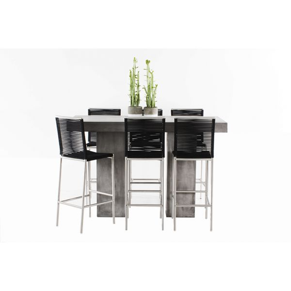 ZEN GFRC CONCRETE BAR TABLE WITH ROPE STAINLESS BAR CHAIRS BLACK - 7PC OUTDOOR BAR SETTING