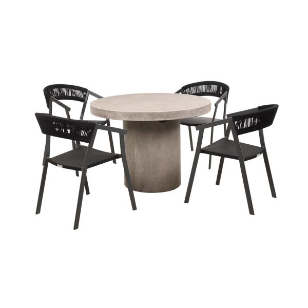 ZEN GFRC CONCRETE TABLE WITH AUTO ROPE CHAIRS CHARCOAL - 5PC OUTDOOR DINING SETTING