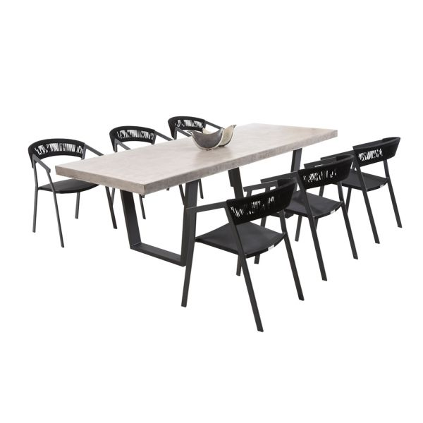 ZEN GFRC CONCRETE TABLE CHARCOAL V LEG WITH AUTO ROPE CHAIRS CHARCOAL - 7PC OUTDOOR DINING SETTING