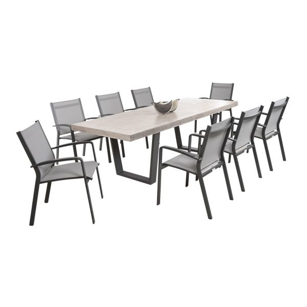 ZEN GFRC CONCRETE TABLE CHARCOAL V LEG WITH COSMO CHAIRS CHARCOAL - 9PC OUTDOOR DINING SETTING