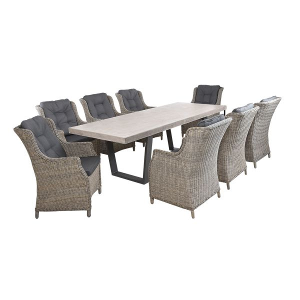 ZEN GFRC CONCRETE TABLE CHARCOAL V LEG WITH DARWIN WICKER CHAIRS GREY- 9PC OUTDOOR DINING SETTING