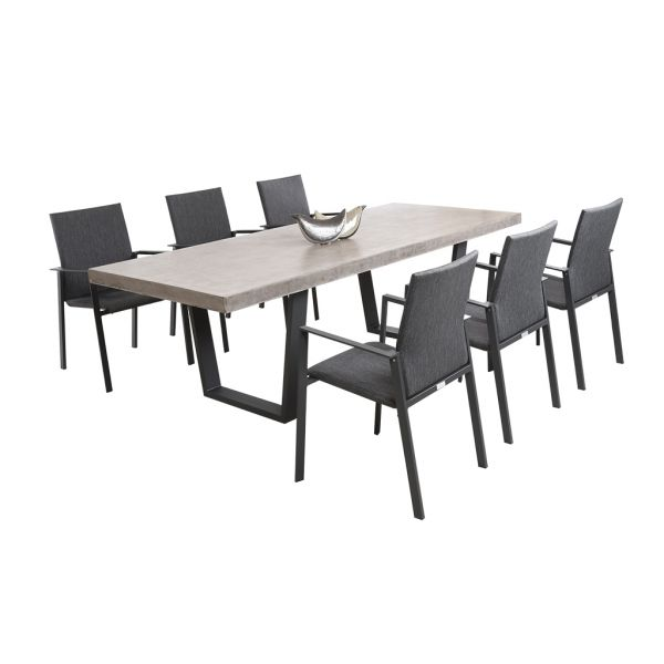 ZEN GFRC CONCRETE TABLE CHARCOAL V LEG WITH EDEN CHAIRS CHARCOAL - 7PC OUTDOOR DINING SETTING