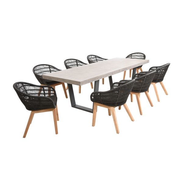 ZEN GFRC CONCRETE TABLE CHARCOAL V LEG WITH MONSOON WICKER TEAK CHAIRS BLACK - 9PC OUTDOOR DINING SETTING