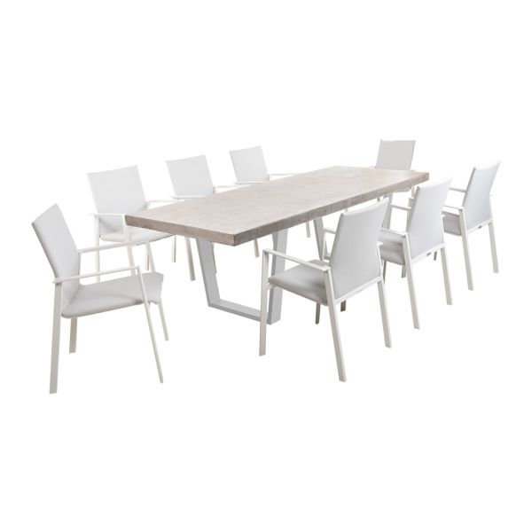 ZEN GFRC CONCRETE TABLE WHITE V LEG WITH EDEN CHAIRS WHITE - 9PC OUTDOOR DINING SETTING