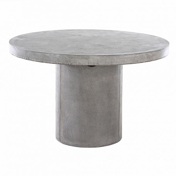 ZEN OUTDOOR GFRC CONCRETE DINING TABLE 120CM ROUND WITH PEDESTAL LEG WEATHERED CEMENT