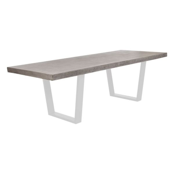ZEN OUTDOOR GFRC CONCRETE DINING TABLE WITH WHITE TRAPEZOID SHAPE LEG 240 X 100 X 75CM
