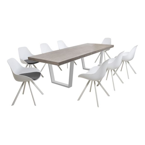 ZEN GFRC CONCRETE TABLE WHITE V LEG WITH NEVERLAND CHAIRS WHITE - 9PC OUTDOOR DINING TABLE