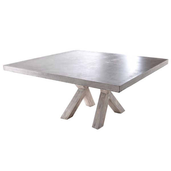 ZEN GFRC OUTDOOR CONCRETE DINING TABLE WITH X LEG 160 X 160 X 75CM