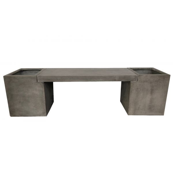 ZEN OUTDOOR GFRC WEATHERED CEMENT BENCH WITH PLANTER 167CM